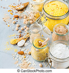Gluten free food flour, almond, corn, rice, chickpea