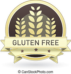 Gluten free food label, badge or seal with brown and tan...