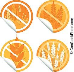 Gluten free food label sticker coll