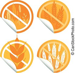 Gluten free food labels. Vector sticker collection