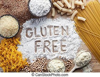 Gluten free food. Various pasta and flour (rice, buckwheat, ...
