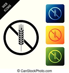 Gluten free grain icon isolated on white background. No wheat sign. Food intolerance symbols. Set icons colorful square buttons. Vector Illustration