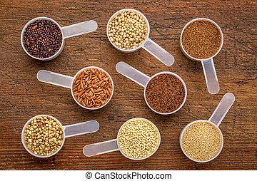 gluten free grains - measuring scoops on wood