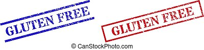 GLUTEN FREE Grunge Scratched Stamp Watermarks with Rectangle Frame