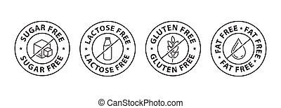 gluten free icon, fat free icon, lactose free icon, sugar free icon, black color vector icon