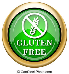 Gluten free icon - Shiny glossy green and gold icon -...