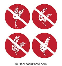 Gluten free icons set with wheat and rye ears