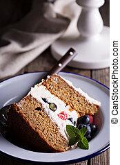 Gluten free layered cake slice with mascarpone and berries...