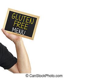 Gluten Free Menu Blackboard Hand