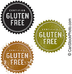 Vintage style gluten-free certified stamps.