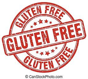 gluten free red grunge round vintage rubber stamp