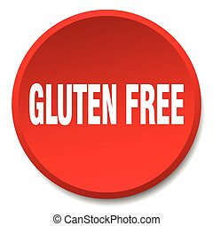 gluten free red round flat isolated push button