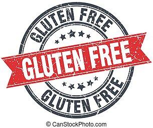gluten free red round grunge vintage ribbon stamp