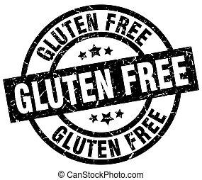 gluten free round grunge black stamp