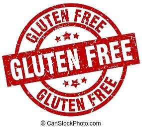 gluten free round red grunge stamp
