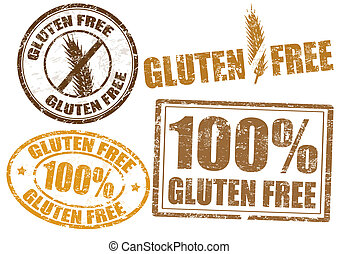 Gluten free - Set of grunge rubber stamps with the text ...