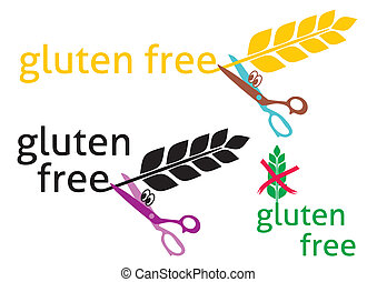 Gluten free - Set of three gluten-free symbols on white...