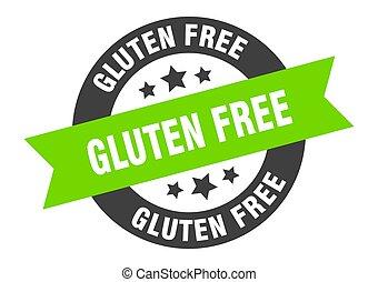 gluten free sign. gluten free black-green round ribbon sticker