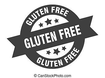 gluten free sign. gluten free black round ribbon sticker