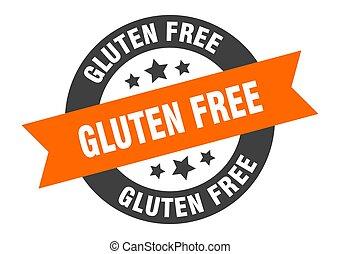 gluten free sign. gluten free orange-black round ribbon sticker