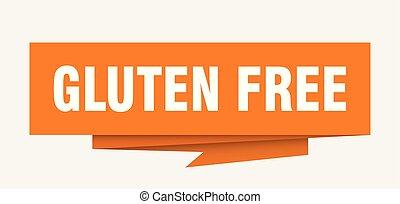 gluten free sign. gluten free paper origami speech bubble....