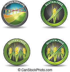 Gluten free signs, crossed wheat, symbolizes gluten free...