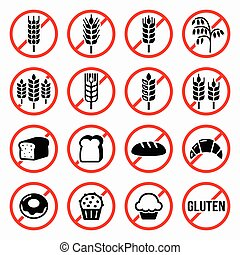 Warning signs for food that doesn't contain gluten isolated on white