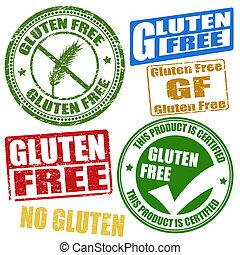 Gluten free stamps - Set of grunge rubber stamps with the ...