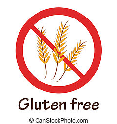 Gluten free red prohibition symbol illustration with text. Also available as a Vector in Adobe illustrator EPS format. The different graphics are all on separate layers so they can easily be moved or edited individually. The text has been converted to paths, so no fonts are required. The vector ...