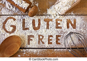 gluten free word with wood background - gluten free word...