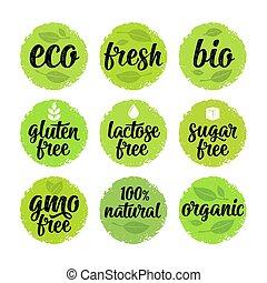 gluten, gmo, élelmiszer, laktóz, 100%, szabad, aláír, cukor, szerves, lettering.