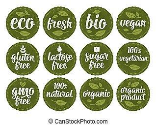gluten, gmo, nourriture, lactose, 100%, gratuite, signe, sucre, organique, lettering.