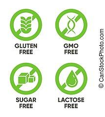 Gluten, GMO, Sugar, Lactose free signs