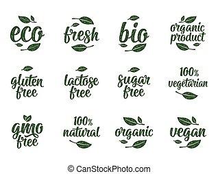Gluten, lactose, sugar, gmo free lettering. Sign 100% organic food