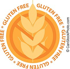 gluten, lebensmittel, abbildung, stamp., vektor, frei, etikett