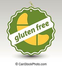 gluten, prijs label, kosteloos, etiket, papier, vector, groene, gebakje, rol