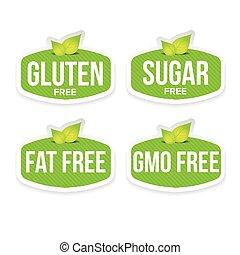 Gluten, sugar, fat, gmo free label