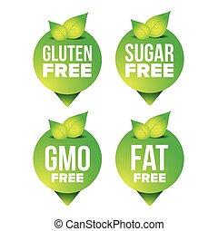 Gluten, sugar, fat, gmo free pointer vector