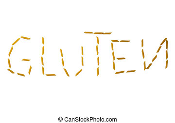 gluten word made with pasta penne isolated on white background