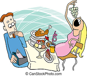 Gluttonous girl on date - Illustration of gluttonous girl on...