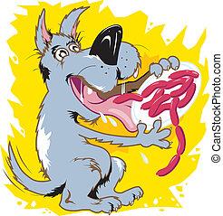Gluttonous Mutt - A mutt ravenously devouring a plate of ...