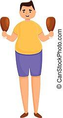 Gluttony chicken legs icon, cartoon style - Gluttony chicken...