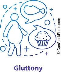 Gluttony concept icon. Obesity problem idea thin line ...
