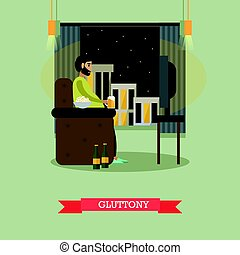 Gluttony concept vector illustration in flat style. - Vector...