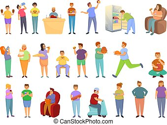 Gluttony icons set, cartoon style - Gluttony icons set. ...