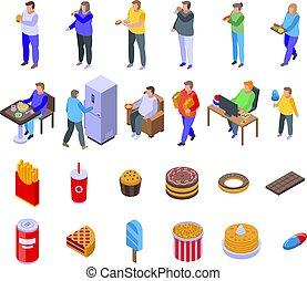 Gluttony icons set, isometric style - Gluttony icons set. ...