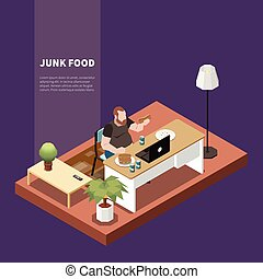 Gluttony Isometric Concept - Gluttony isometric concept with...