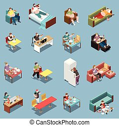 Gluttony Isometric Icons Set - Gluttony isometric colored ...