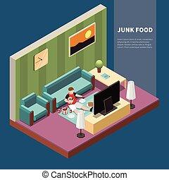 Gluttony Isometric Illustration - Fat guy eating junk food ...