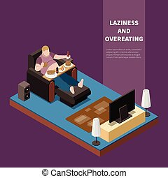 Gluttony Isometric Illustration - Overweight lazy man ...